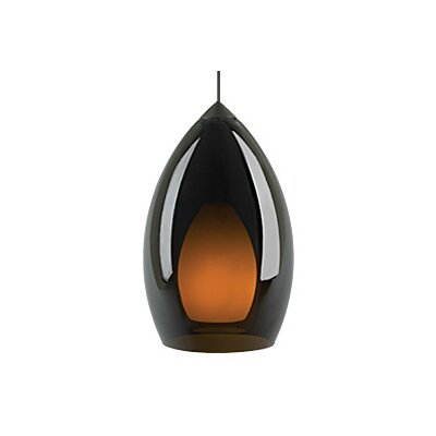 Fire 1-Light Monopoint Pendant Finish: Antique Bronze, Shade Color: Havana Brown