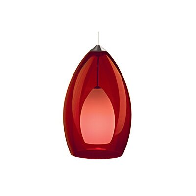 Fire 1-Light Mini Pendant Finish: Satin Nickel, Color: Red