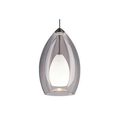 Fire 1-Light Mini Pendant Finish: Satin Nickel, Color: Gray / Smoke