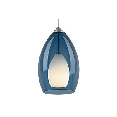 Fire 1-Light Mini Pendant Finish: Satin Nickel, Shade Color: Blue / Steel Blue