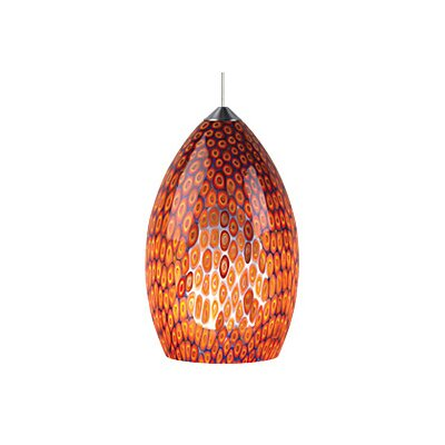 Firebird 1-Light Track Pendant Bulb Type: Halogen, Finish: Chrome, Shade Color: Red