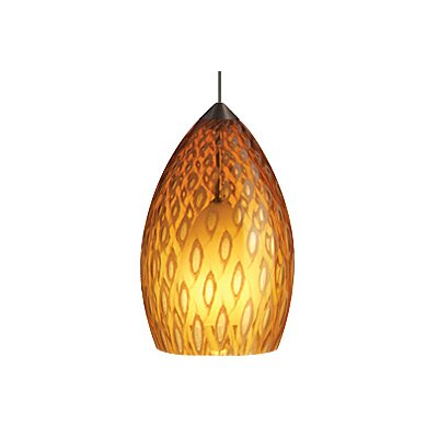 Firebird 1-Light Mini Pendant Finish: Satin Nickel, Color: Owl (Amber)
