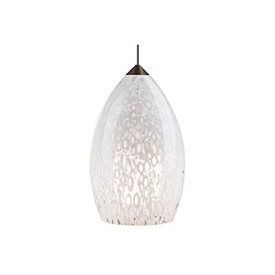 1-Light Firebird Pendant Bulb Type: Halogen, Finish: Satin Nickel, Shade Color: White
