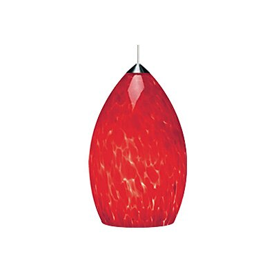 Firefrit 1-Light Mini Pendant Finish: Satin Nickel, Shade Color: Ferrari Red