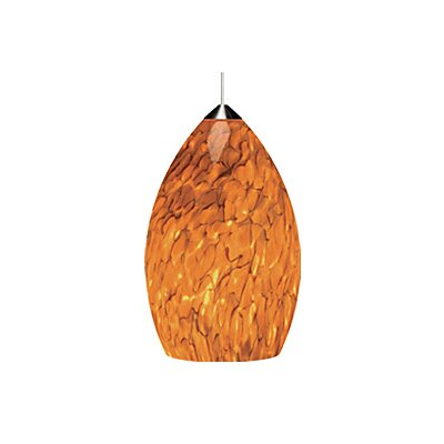 Firefrit 1-Light Mini Pendant Base Finish: Chrome, Shade Color: Tahoe Pine Amber, Bulb Type: 1 x 50W Halogen