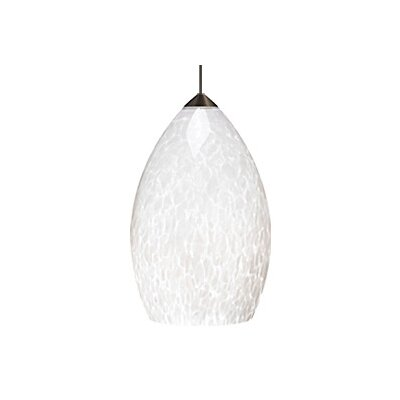 Firefrit 1-Light Mini Pendant Base Finish: Satin Nickel, Shade Color: White Frit, Bulb Type: 1 x 50W Halogen