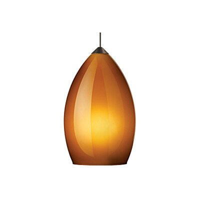 Firefrost 1-Light Mini Pendant Finish: Satin Nickel, Shade Color: Amber, Bulb Type: 1 x 50W Halogen
