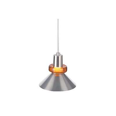 Hanging Wok 1-Light Mini Pendant Finish: Satin Nickel, Color: Amber