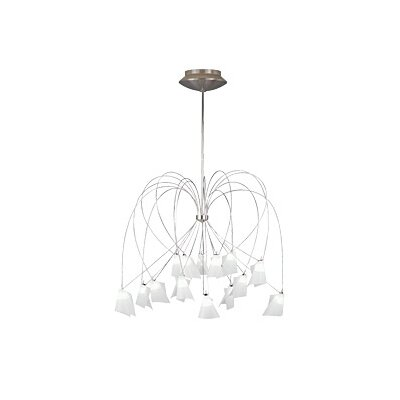 Rhapsody 15-Light Shaded Chandelier Height: 68, Finish: Chrome