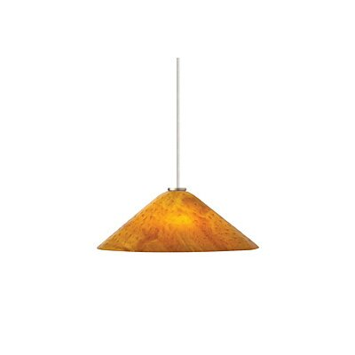 Larkspur 1-Light Pendant Finish / Shade / Bulb / Volts: Black / Beach Amber / Fluorescent / 277