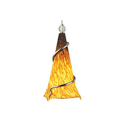 Ovation 1-Light Mini Pendant Finish: Satin Nickel, Shade: Tahoe Pine Amber, Ball: Clear Ball