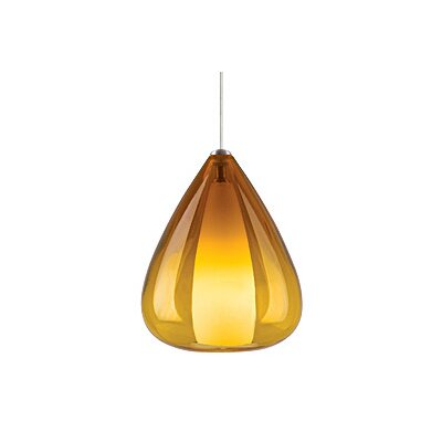 Soleil FreeJack 1-Light Mini Pendant Finish: Satin Nickel, Color: Amber