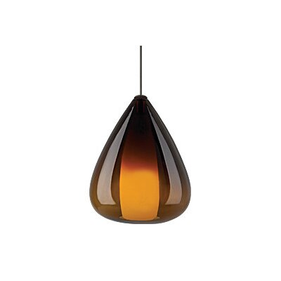 Soleil 1-Light Monopoint Pendant Finish: Satin Nickel, Shade: Havana Brown