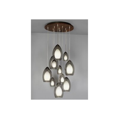 11 Port Round Wooden Canopy Shade Color: Satin Nickel, Finish: Walnut, Bulb Type: Halogen