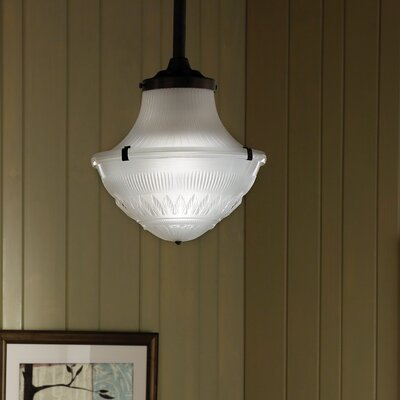 1-Light Schoolhouse Pendant Base Finish: Antique Bronze, Size: 24 H x 13.4 W x 13.4 D, Bulb Type: Compact Fluorescent