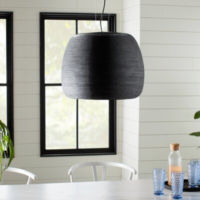 Karam 1-Light Mini Pendant Finish: Black / Black, Size: 10.1 H x 11.7 W x 11.7 D, Bulb Type: 277V Compact Fluorescent