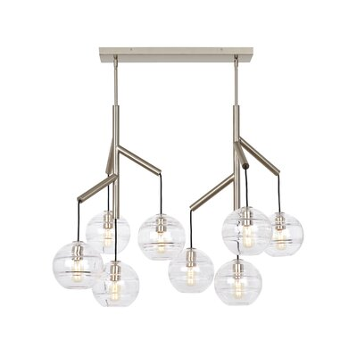Glowacki Double Candle-Style Chandelier Finish: Satin Nickel, Shade Color: Clear