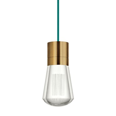 Gordillo Single 1-Light Mini Pendant Finish: Aged Brass, Shade Color: Teal
