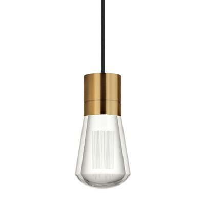 Gordillo Single 1-Light Mini Pendant Finish: Aged Brass, Shade Color: Black