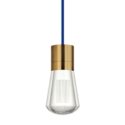 Gordillo Single 1-Light Mini Pendant Finish: Aged Brass, Shade Color: Blue