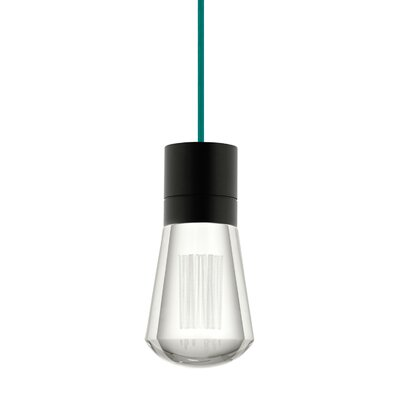 Gordillo Single 1-Light Mini Pendant Finish: Black, Shade Color: Teal