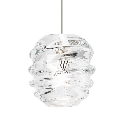 Audra 1-Light Globe Pendant Finish: Satin Nickel, Shade Color: Clear, Size: 5.9 L x 5.3 W