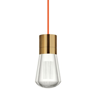 Gordillo Single 1-Light Mini Pendant Finish: Aged Brass, Shade Color: Orange