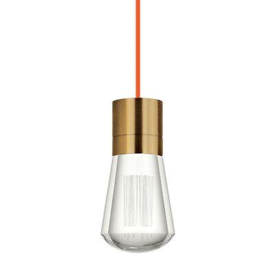 Gordillo Single 1-Light Mini Pendant Finish: Aged Brass, Shade Color: Orange