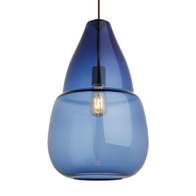Hewitt Geometric Pendant Finish: Black, Shade Color: Steel Blue