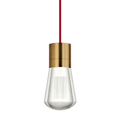 Gordillo Single 1-Light Mini Pendant Finish: Aged Brass, Shade Color: Red