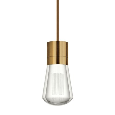 Gordillo Single 1-Light Mini Pendant Finish: Aged Brass, Shade Color: Brown