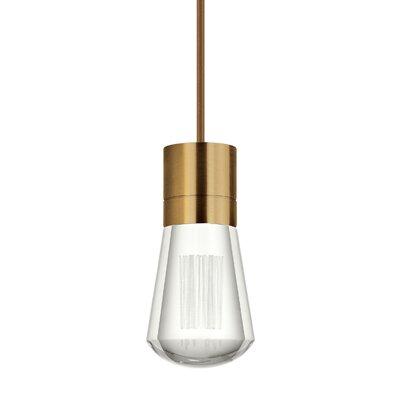 Gordillo Single 1-Light Mini Pendant Finish: Aged Brass, Shade Color: Brown