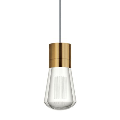 Gordillo Single 1-Light Mini Pendant Finish: Aged Brass, Shade Color: Gray