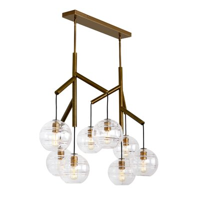 Glowacki Double Candle-Style Chandelier Finish: Aged Brass, Shade Color: Clear