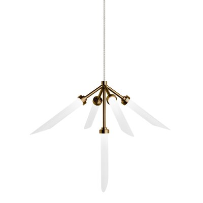 Herlev 5-Light Cluster Pendant Finish: Aged Brass