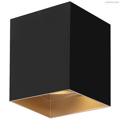 Pepin LED Flush Mount Fixture Finish: Gold Haze, Shade Color: Matte Black