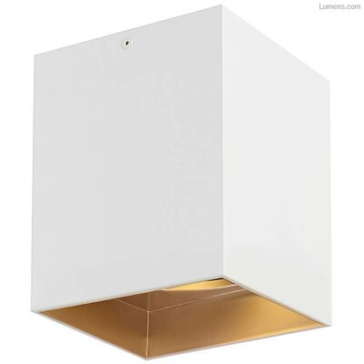 Pepin LED Flush Mount Fixture Finish: Gold Haze, Shade Color: Matte White