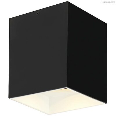 Pepin LED Flush Mount Fixture Finish: White, Shade Color: Matte Black