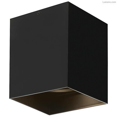 Pepin LED Flush Mount Fixture Finish: Black, Shade Color: Matte Black