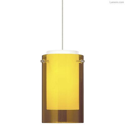 Pinkston 1-Light Mini Pendant Finish: Satin Nickel, Shade Color: Amber