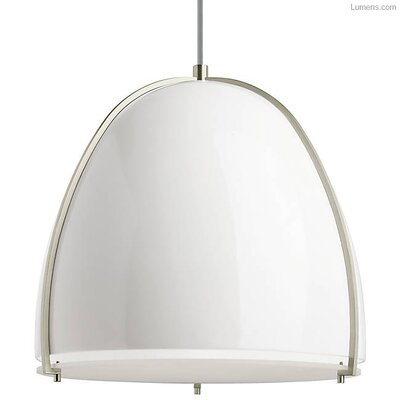 Gossage 1-Light LED Pendant Finish: Satin Nickel, Shade Color: Gloss White