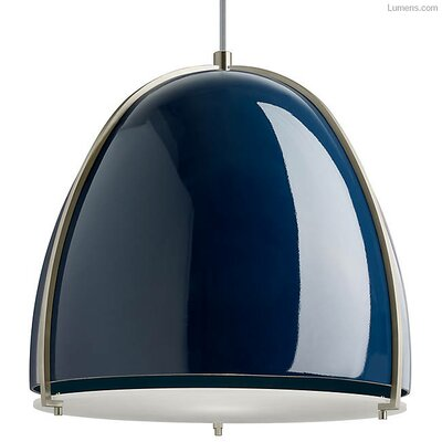 Gossage 1-Light LED Pendant Finish: Satin Nickel, Shade Color: Blue