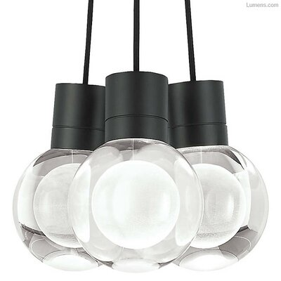 Hollins 3-Light Cluster Pendant Finish: Black, Shade Color: Black/White