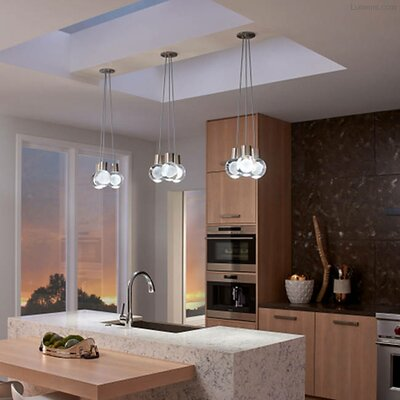 Hollis 7-Light LED Cluster Pendant Finish: Satin Nickel, Cord Color: Brown