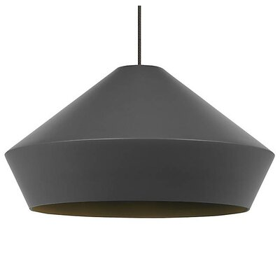 Gordan Inverted Pendant Finish: Black, Shade Color: Charcoal Gray