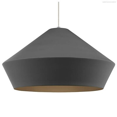 Gordan Inverted Pendant Finish: Satin Nickel, Shade Color: Charcoal Gray