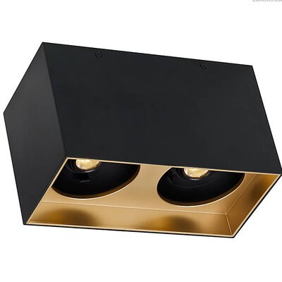 Pepin Dual LED Flush Mount Fixture Finish: Gold Haze, Shade Color: Matte Black