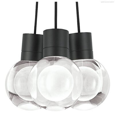 Hollis 7-Light LED Cluster Pendant Finish: Black, Cord Color: Black
