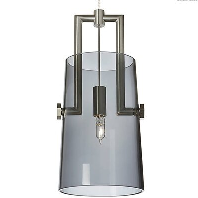 Brickey 1-Light Mini Pendant Shade Color: Transparent Smoke