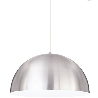 Hillside 1-Light Inverted Pendant Finish: Satin Nickel, Shade Color: Satin Nickel/White